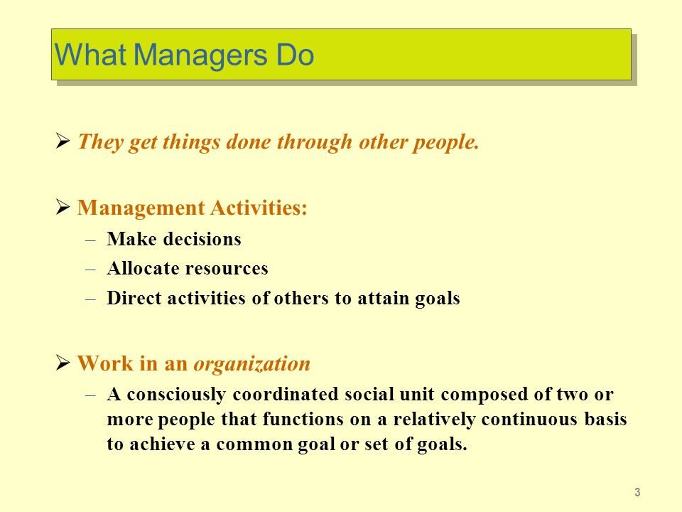 3 What Managers Do They get things done through other people.