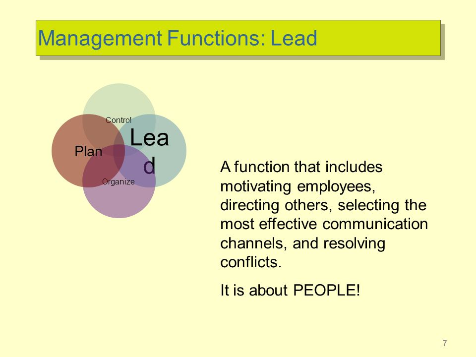 7 Management Functions: Lead Control Lea d Organize Plan A function that includes motivating employees, directing others, selecting the most effective communication channels, and resolving conflicts.