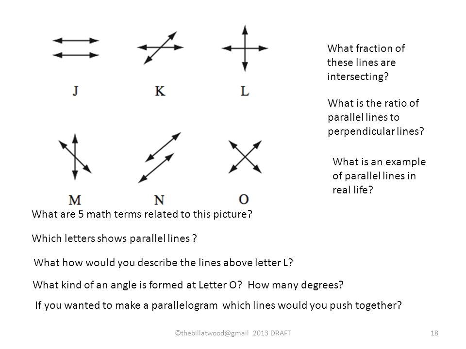 What are 5 math terms related to this picture. Which letters shows parallel lines .