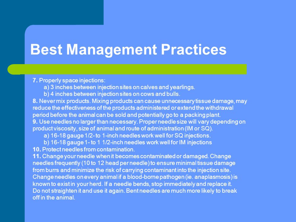Best Management Practices 7.