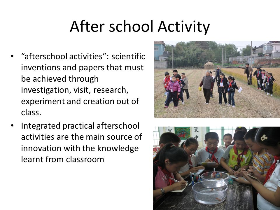 After school Activity afterschool activities: scientific inventions and papers that must be achieved through investigation, visit, research, experimen