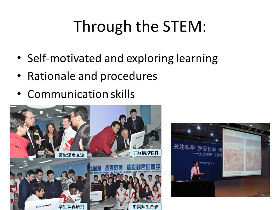 Through the STEM: Self-motivated and exploring learning Rationale and procedures Communication skills