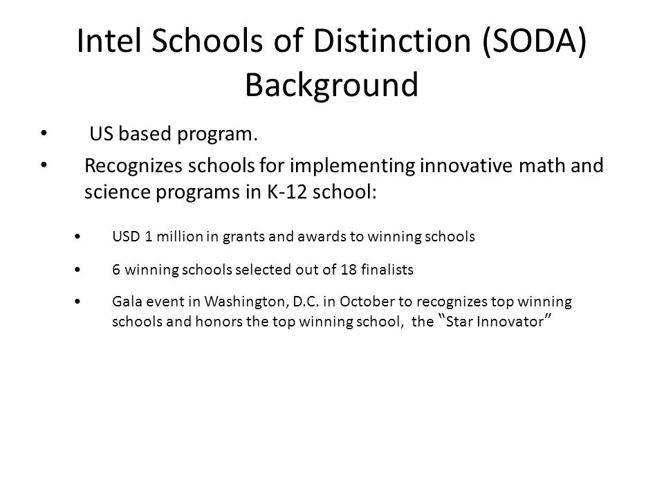 Goals of SODA in China Drive the development of nationwide innovation of science education focuses on school practice.