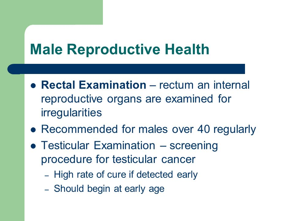 Male Reproductive Health Rectal Examination – rectum an internal reproductive organs are examined for irregularities Recommended for males over 40 reg