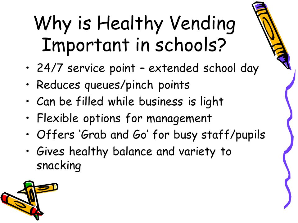 Why is Healthy Vending Important in schools.