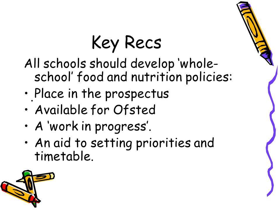 Key Recs All schools should develop whole- school food and nutrition policies: Place in the prospectus Available for Ofsted A work in progress.