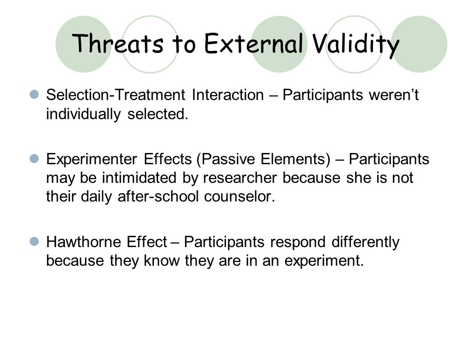 Threats to External Validity Selection-Treatment Interaction – Participants werent individually selected. Experimenter Effects (Passive Elements) – Pa