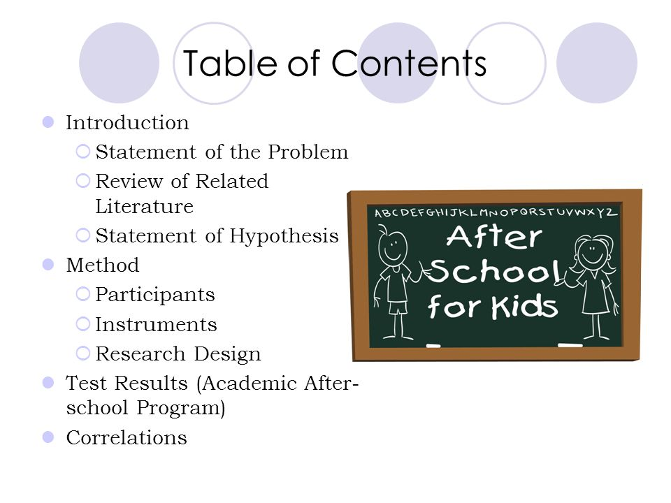 Table of Contents Introduction Statement of the Problem Review of Related Literature Statement of Hypothesis Method Participants Instruments Research Design Test Results (Academic After- school Program) Correlations
