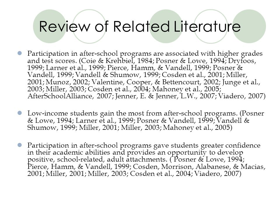Review of Related Literature Participation in after-school programs are associated with higher grades and test scores. (Coie & Krehbiel, 1984; Posner