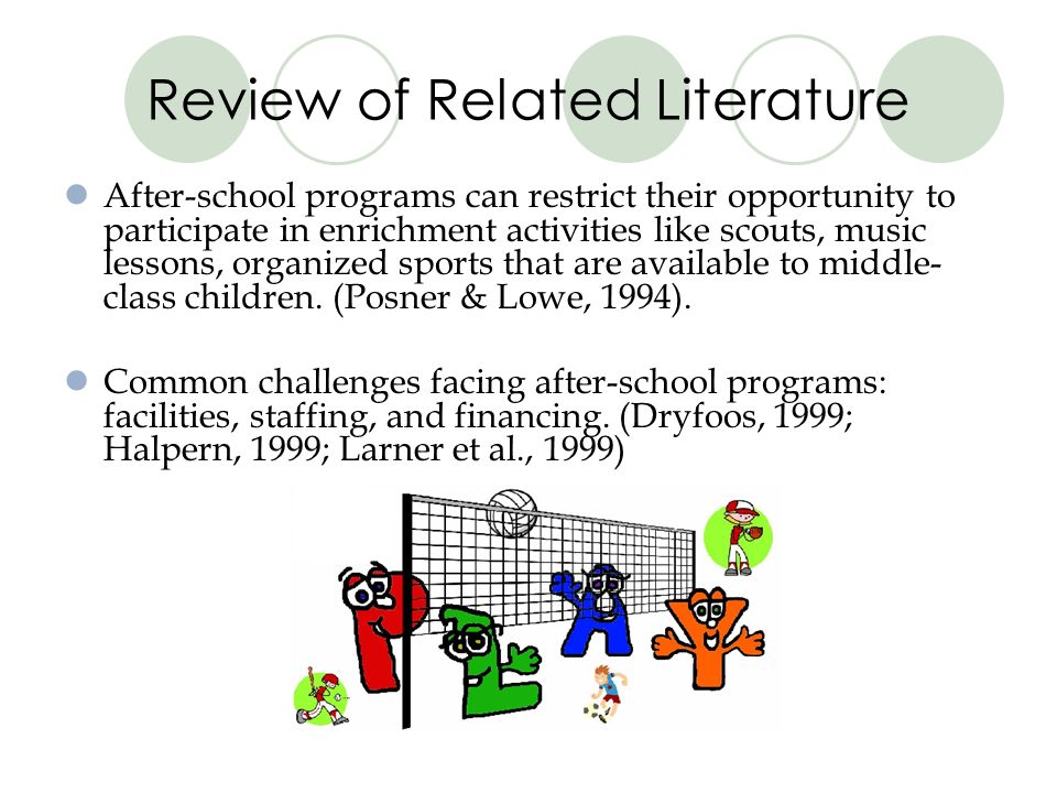 Review of Related Literature After-school programs can restrict their opportunity to participate in enrichment activities like scouts, music lessons, organized sports that are available to middle- class children.