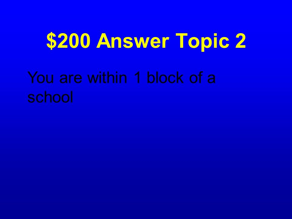 $200 Question Topic 2 What does a school zone sign mean?