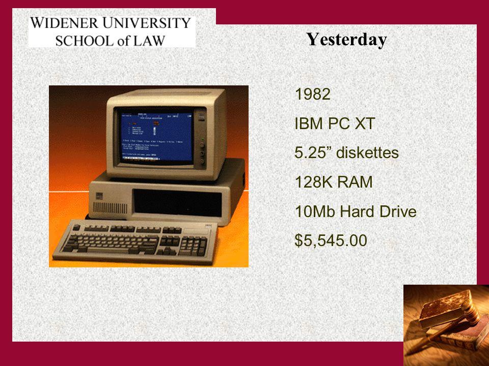 Yesterday 1982 IBM PC XT 5.25 diskettes 128K RAM 10Mb Hard Drive $5,545.00