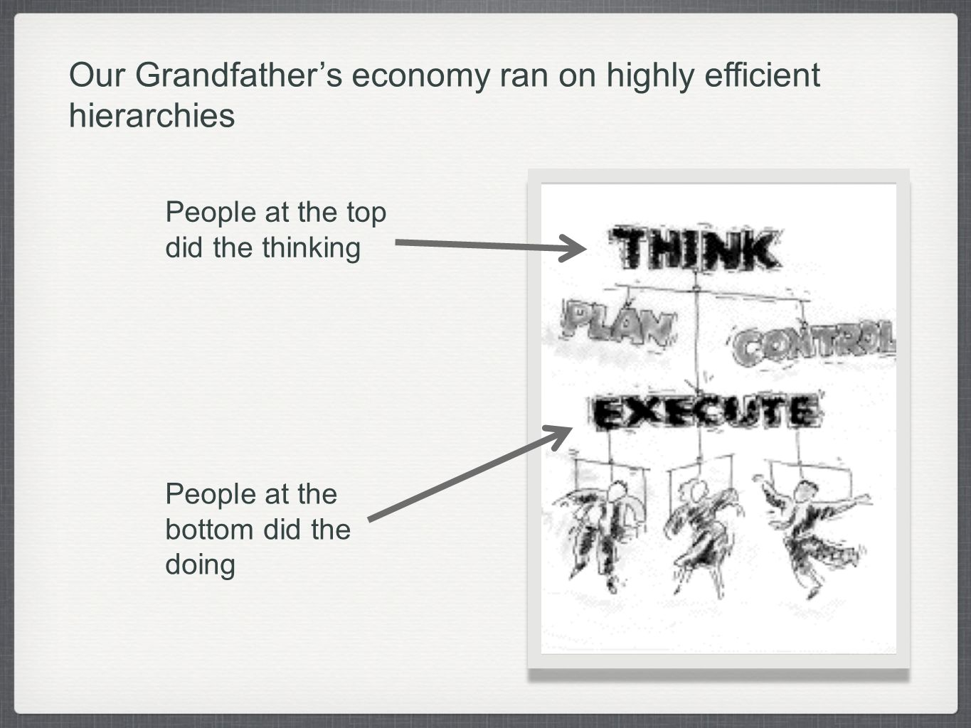 Our Grandfathers economy ran on highly efficient hierarchies People at the top did the thinking People at the bottom did the doing