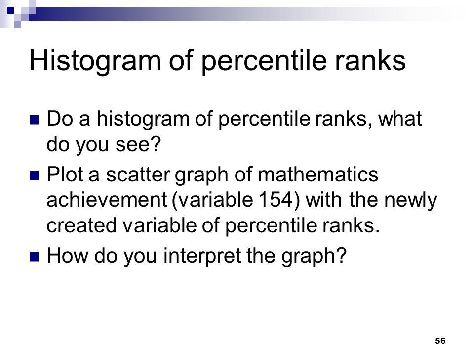 56 Histogram of percentile ranks Do a histogram of percentile ranks, what do you see? Plot a scatter graph of mathematics achievement (variable 154) w