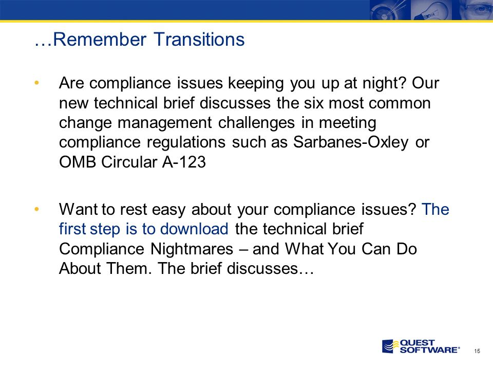 14 Speaking of Clear… Are compliance issues keeping you up at night.