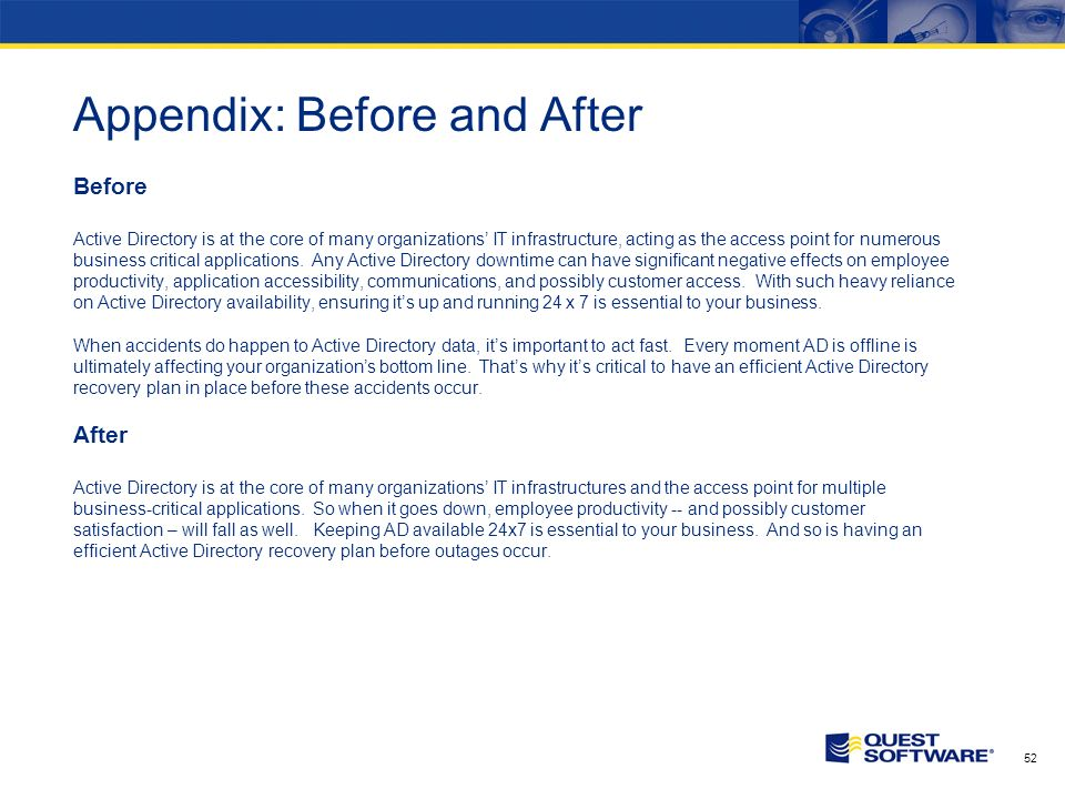 51 Appendix: Before and After Before PowerShell is Microsoft s next-generation command line and scripting solution.