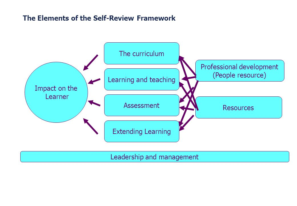 The Elements of the Self-Review Framework Impact on the Learner The curriculum Extending Learning Learning and teachingAssessment Professional develop