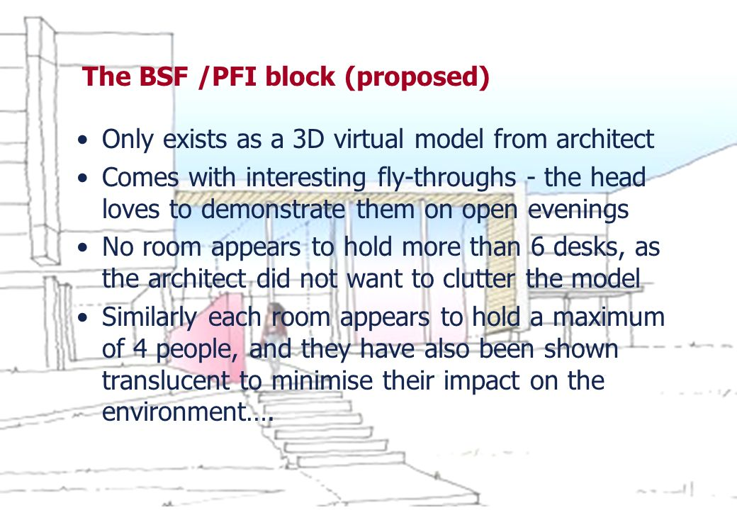The BSF /PFI block (proposed) Only exists as a 3D virtual model from architect Comes with interesting fly-throughs - the head loves to demonstrate the