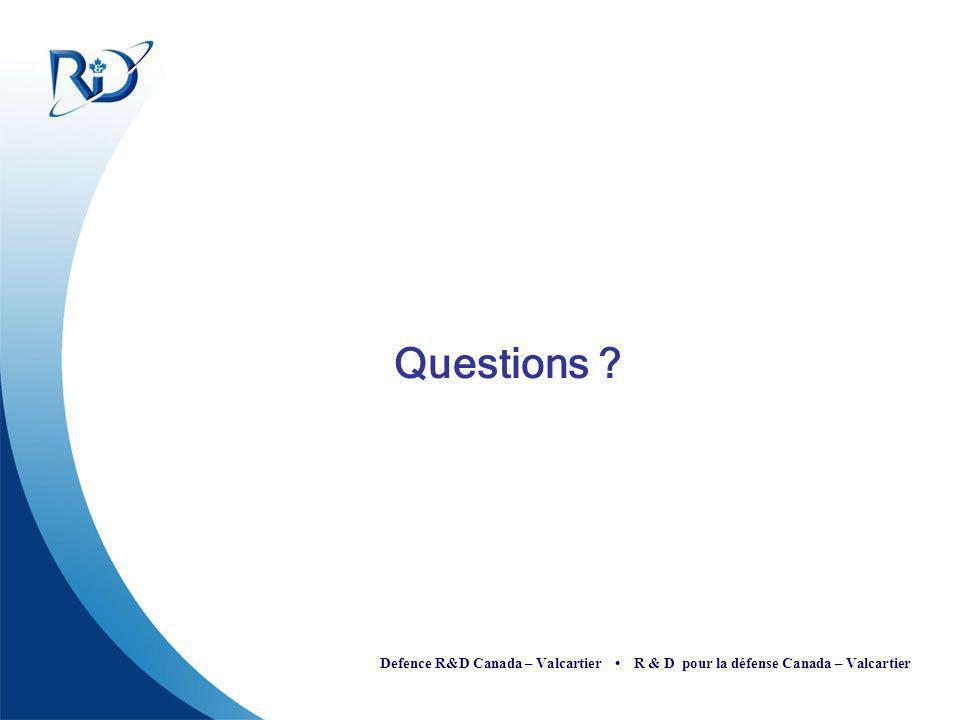 Defence R&D Canada – Valcartier R & D pour la défense Canada – Valcartier Questions ?