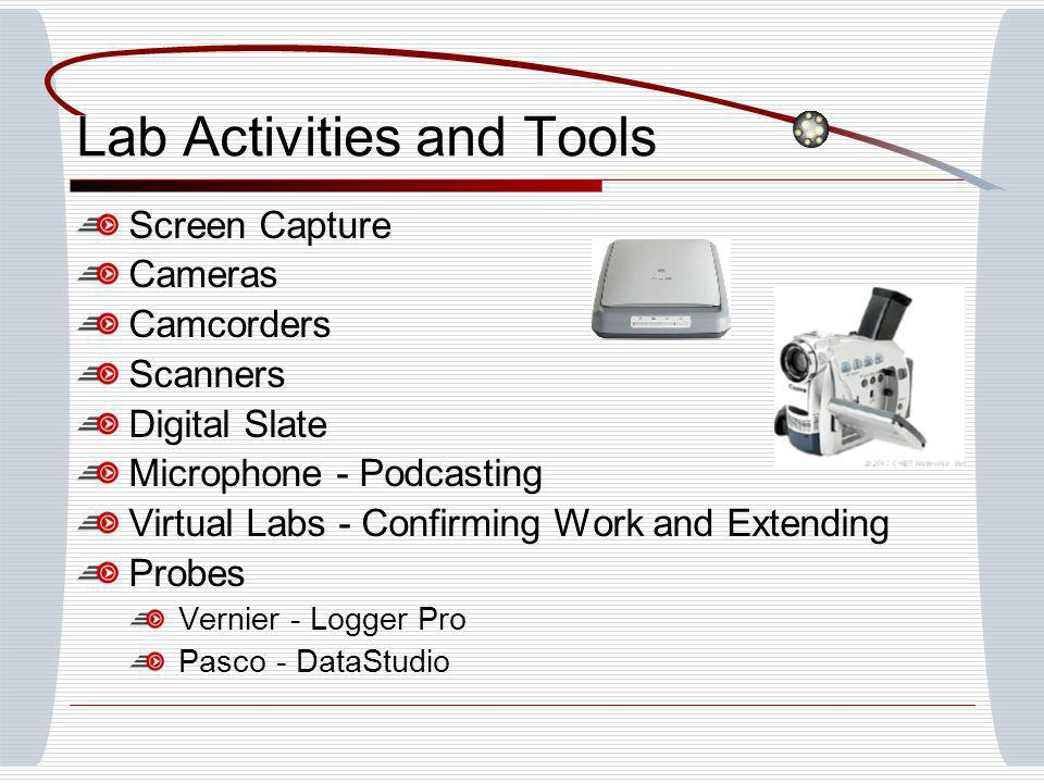 Lab Activities and Tools Screen Capture Cameras Camcorders Scanners Digital Slate Microphone - Podcasting Virtual Labs - Confirming Work and Extending