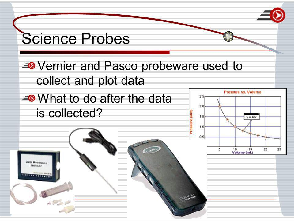 Science Probes Vernier and Pasco probeware used to collect and plot data What to do after the data is collected