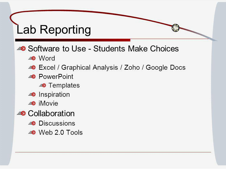 Lab Reporting Software to Use - Students Make Choices Word Excel / Graphical Analysis / Zoho / Google Docs PowerPoint Templates Inspiration iMovie Collaboration Discussions Web 2.0 Tools