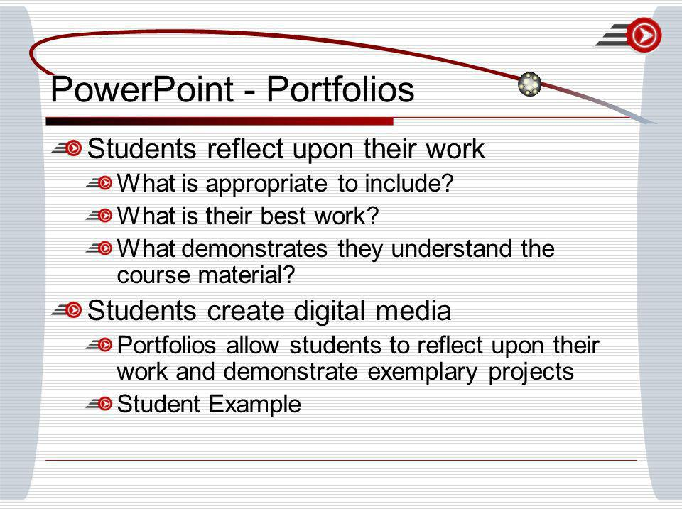 PowerPoint - Portfolios Students reflect upon their work What is appropriate to include? What is their best work? What demonstrates they understand th