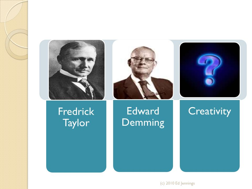 Fredrick Taylor Edward Demming Creativity (c) 2010 Ed Jennings