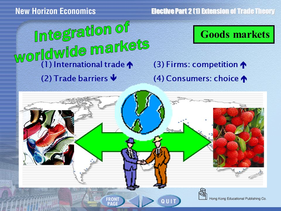 Elective Part 2 (1) Extension of Trade Theory Goods markets (1) International trade (3) Firms: competition (2) Trade barriers (4) Consumers: choice