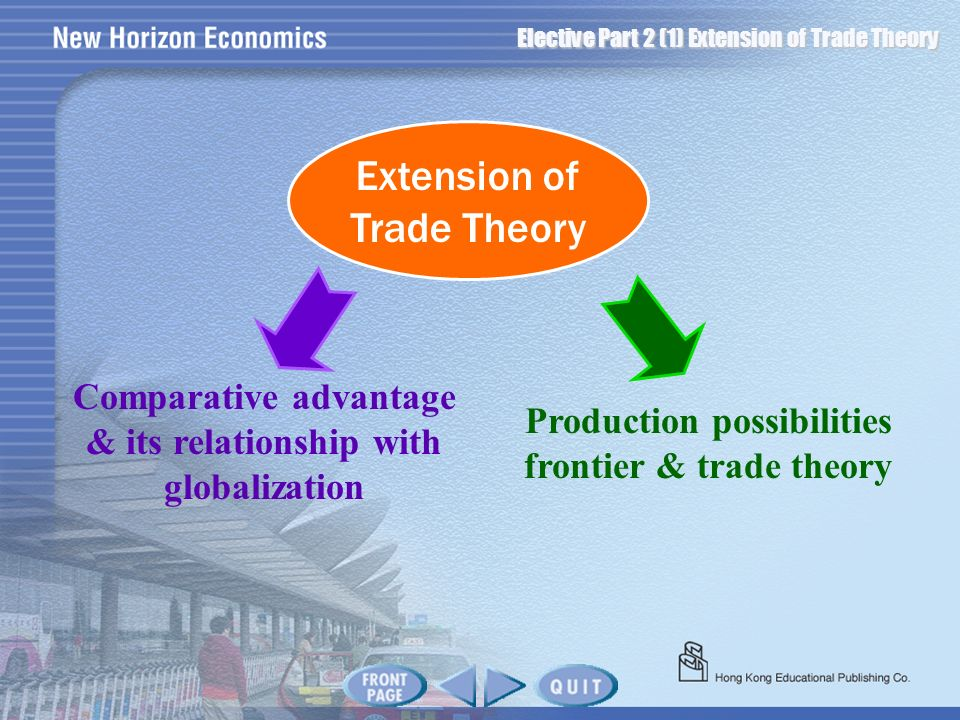 Extension of Trade Theory Production possibilities frontier & trade theory Comparative advantage & its relationship with globalization