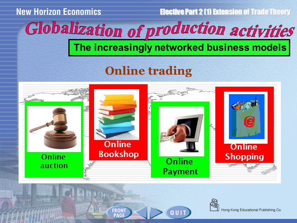 Elective Part 2 (1) Extension of Trade Theory Online trading Online auction Online Bookshop Online Payment Online Shopping The increasingly networked