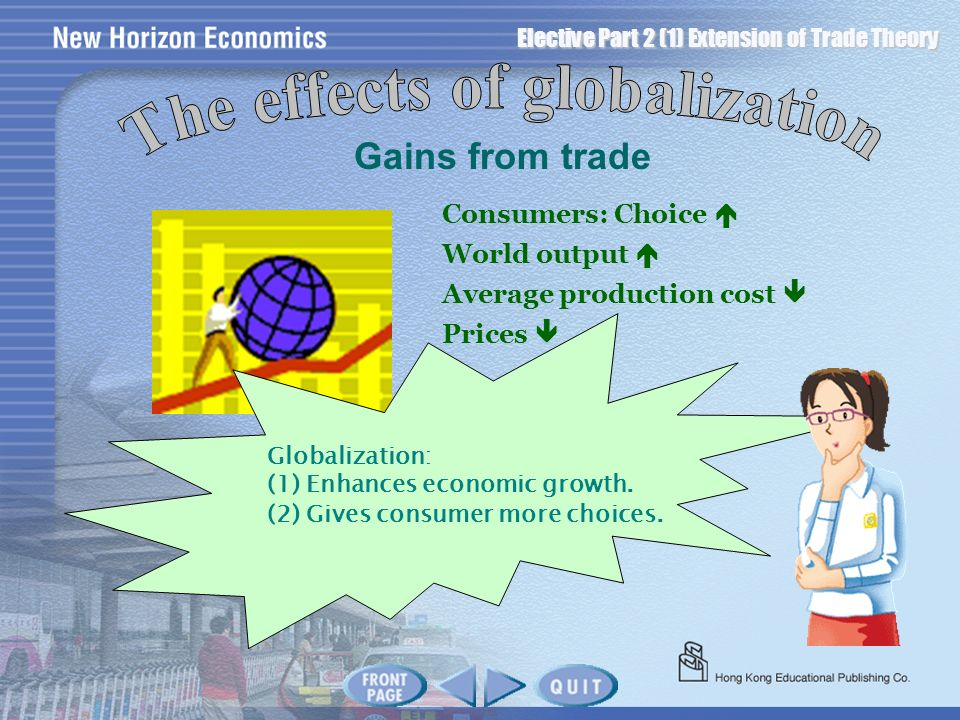Elective Part 2 (1) Extension of Trade Theory Gains from trade Consumers: Choice World output Average production cost Prices Globalization: (1) Enhanc