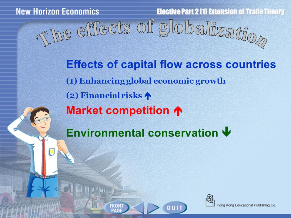 Elective Part 2 (1) Extension of Trade Theory Effects of capital flow across countries (1) Enhancing global economic growth (2) Financial risks Market