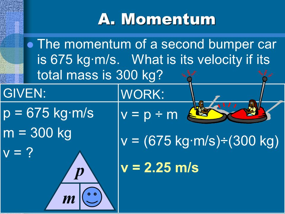 A. Momentum The momentum of a second bumper car is 675 kg·m/s.