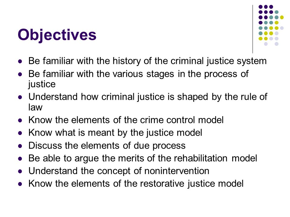 Objectives Be familiar with the history of the criminal justice system Be familiar with the various stages in the process of justice Understand how cr