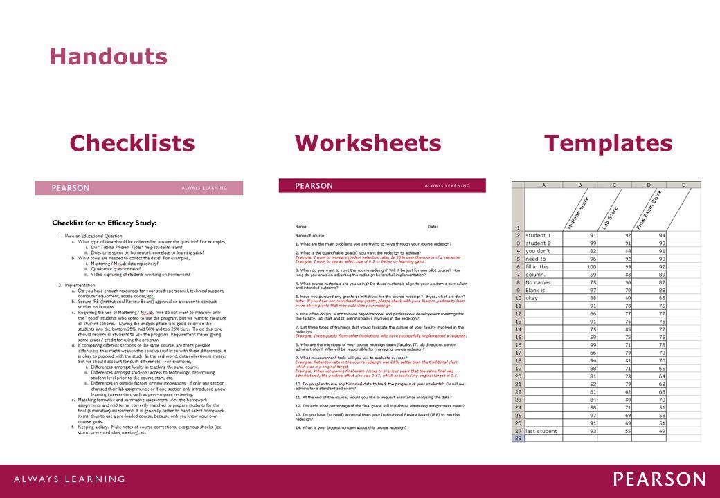 Handouts ChecklistsWorksheetsTemplates