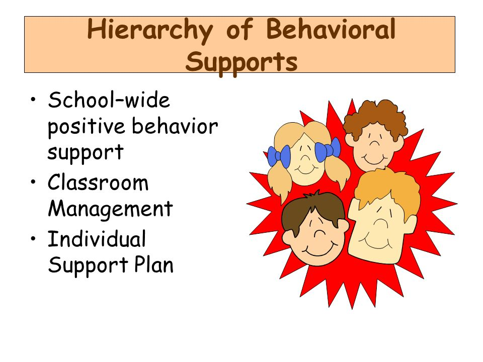 Hierarchy of Behavioral Supports School–wide positive behavior support Classroom Management Individual Support Plan