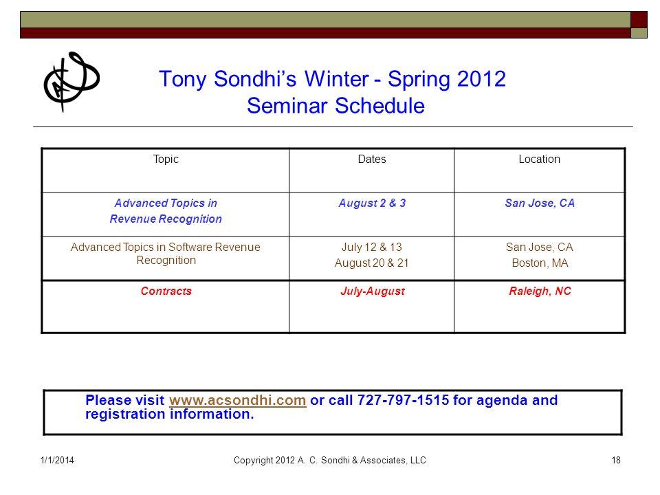 1/1/2014Copyright 2012 A. C. Sondhi & Associates, LLC18 Tony Sondhis Winter - Spring 2012 Seminar Schedule TopicDatesLocation Advanced Topics in Reven