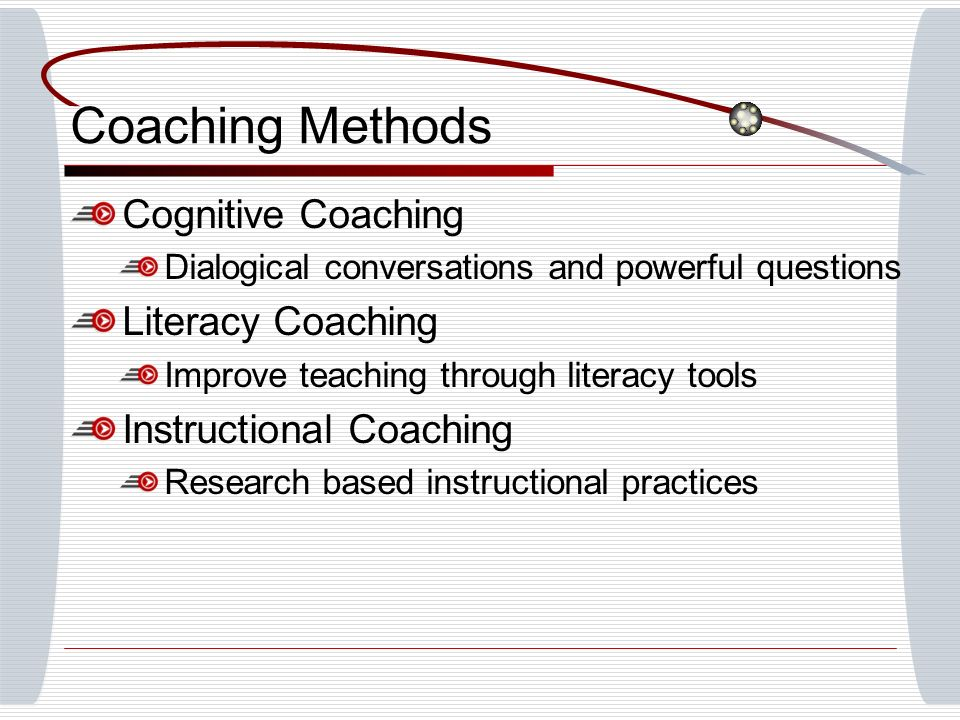 Coaching Methods Cognitive Coaching Dialogical conversations and powerful questions Literacy Coaching Improve teaching through literacy tools Instruct