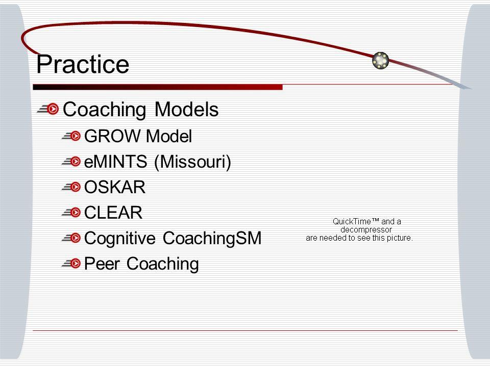 Practice Coaching Models GROW Model eMINTS (Missouri) OSKAR CLEAR Cognitive CoachingSM Peer Coaching