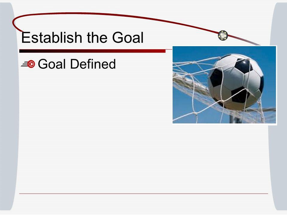 Establish the Goal Goal Defined