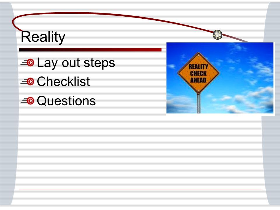 Reality Lay out steps Checklist Questions
