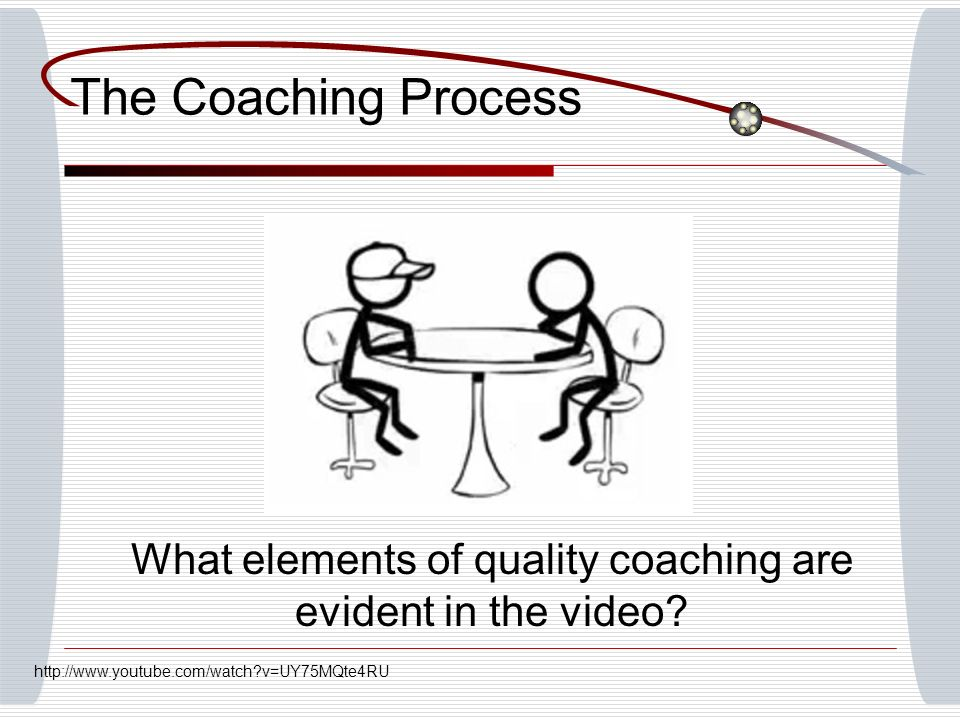The Coaching Process What elements of quality coaching are evident in the video? http://www.youtube.com/watch?v=UY75MQte4RU
