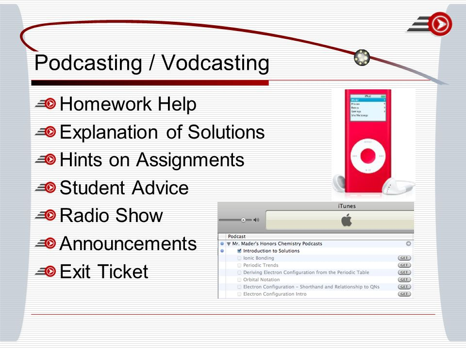Podcasting / Vodcasting Homework Help Explanation of Solutions Hints on Assignments Student Advice Radio Show Announcements Exit Ticket