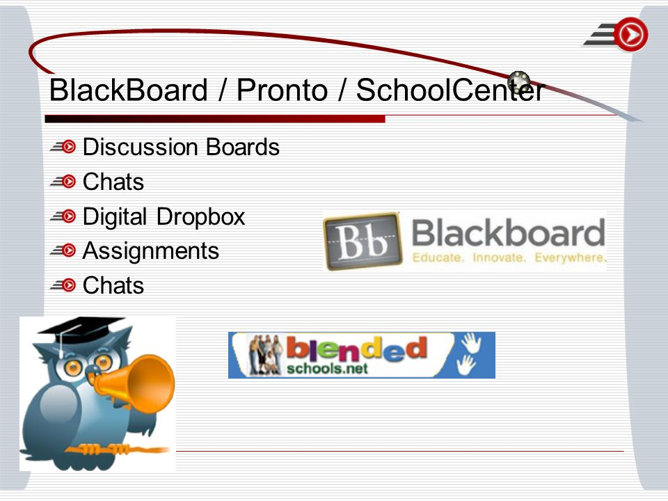 BlackBoard / Pronto / SchoolCenter Discussion Boards Chats Digital Dropbox Assignments Chats
