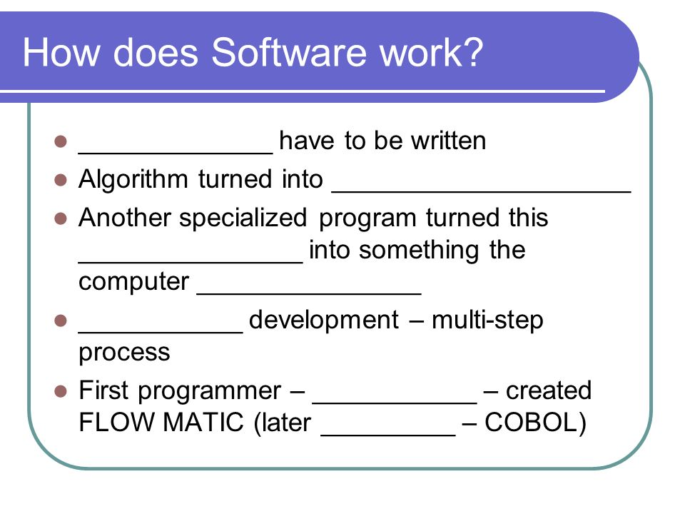 How does Software work? _____________ have to be written Algorithm turned into ____________________ Another specialized program turned this __________