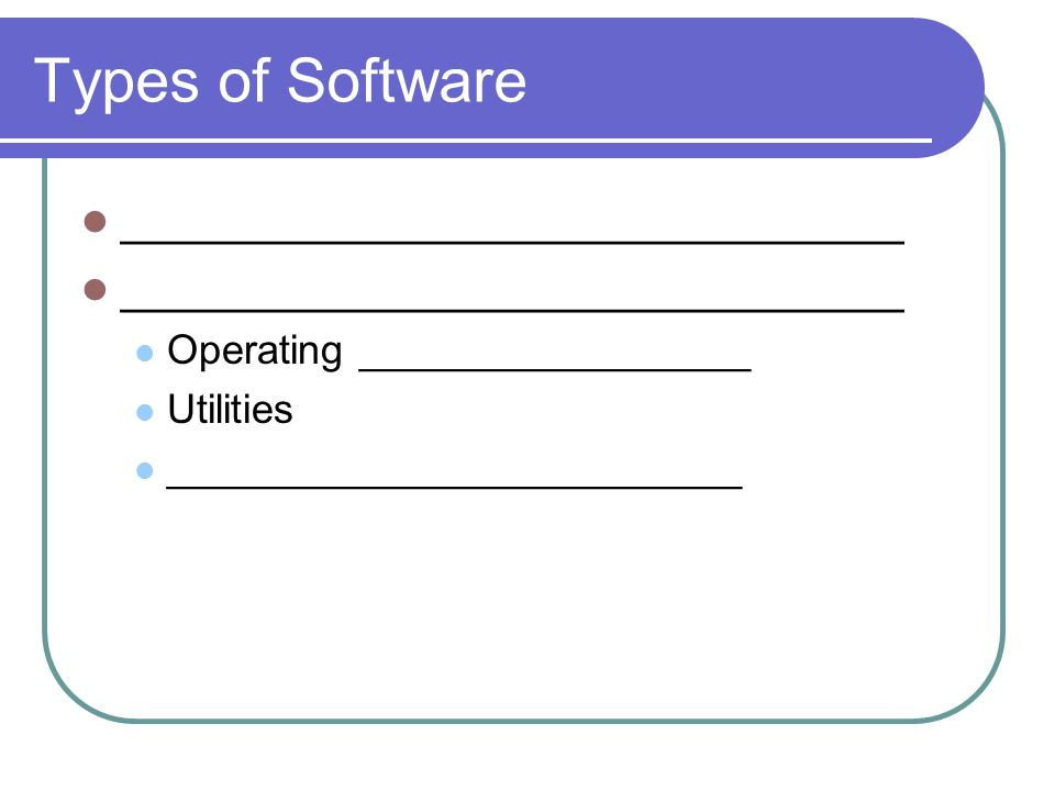 Types of Software ______________________________ Operating _________________ Utilities _________________________