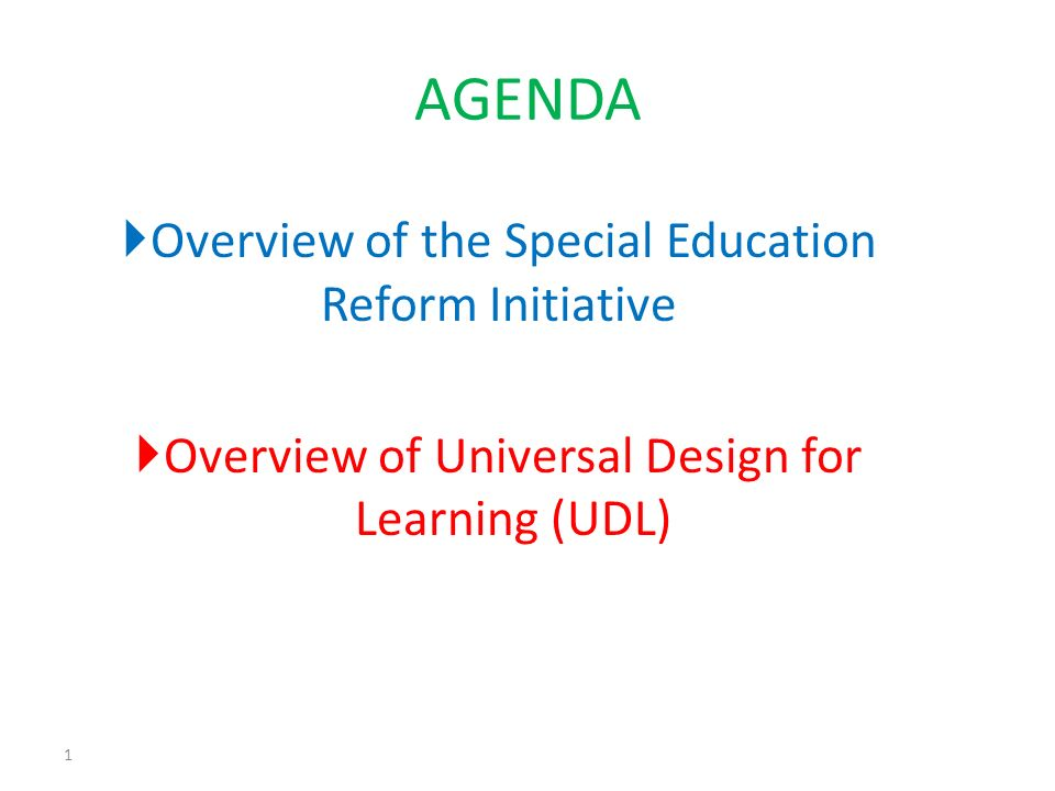 Overview of the Special Education Reform Initiative Overview of Universal Design for Learning (UDL) 1 AGENDA