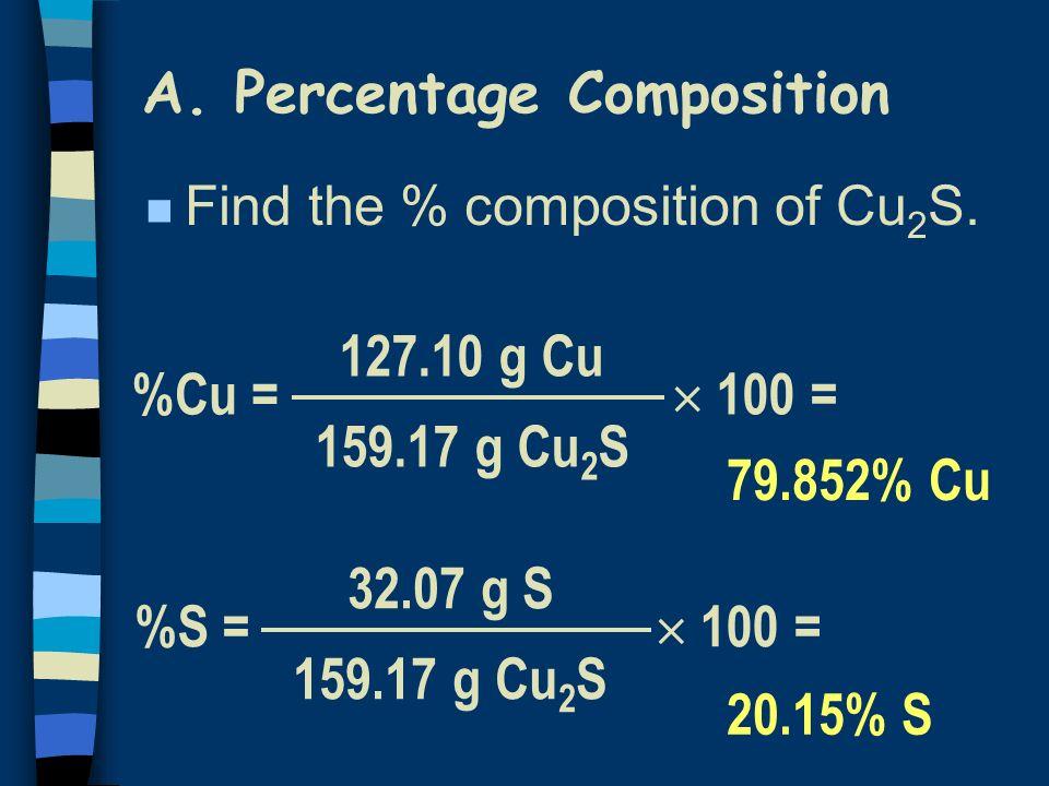 100 = A. Percentage Composition %Cu = 127.10 g Cu 159.17 g Cu 2 S 100 = %S = 32.07 g S 159.17 g Cu 2 S 79.852% Cu 20.15% S n Find the % composition of