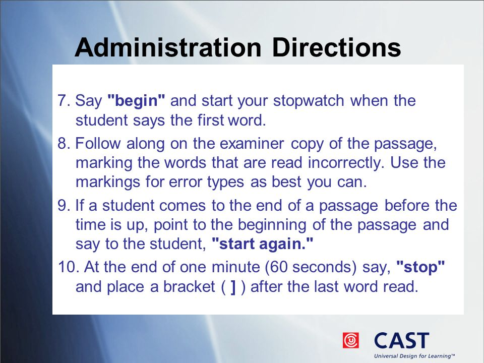 Administration Directions 7.